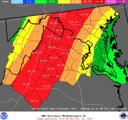 snowfall prection map; 8-10 inches for fairfax county