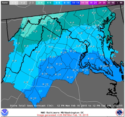 Feb. 15-16 snow predictions